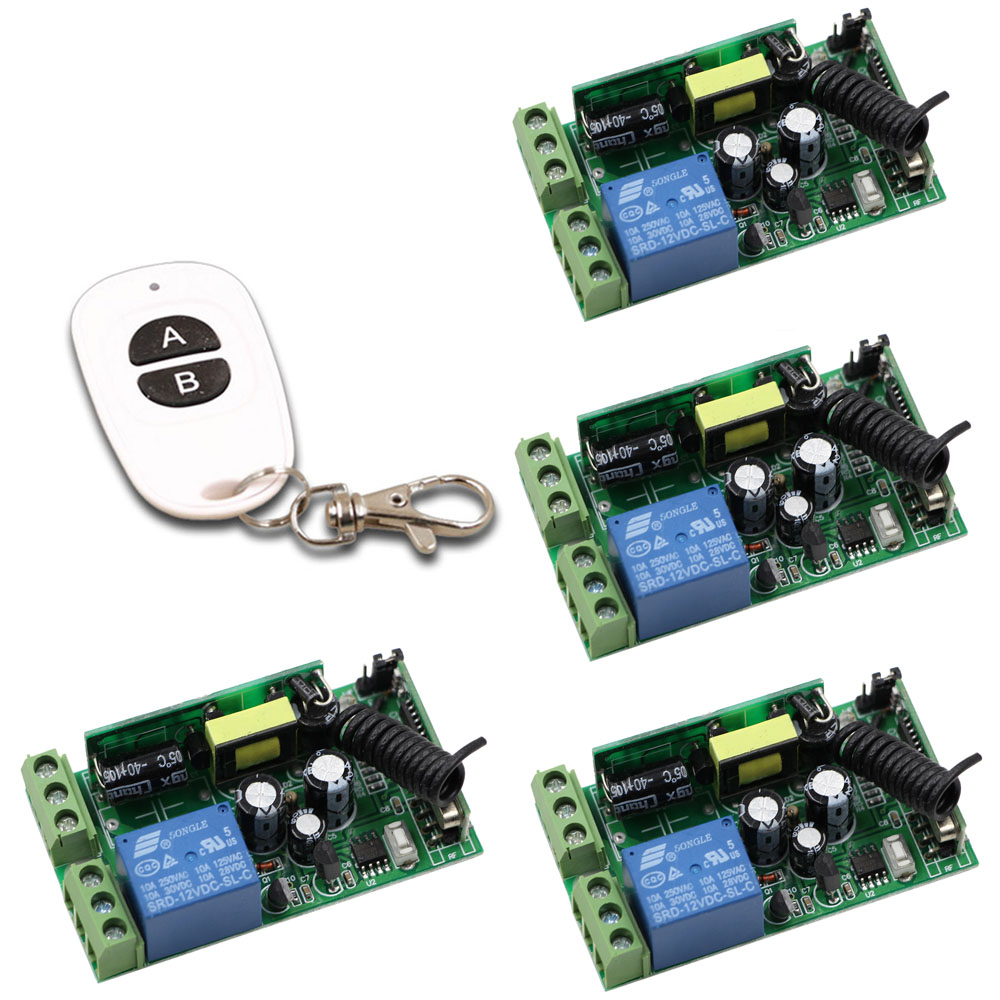 Latest Wide Voltage 85V-250V 1CH 10A Wireless Switch System 4*Receiver &amp; AB Keys Transmitter Used in Light/ Window/Garage Doors <br>