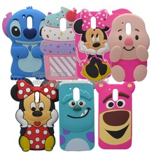 3D Cartoon Animal Stitch Minnie Pig Rabbit Sulley Silicone Back Cover Cases For Motorola Moto G4 / G4 Plus(China)
