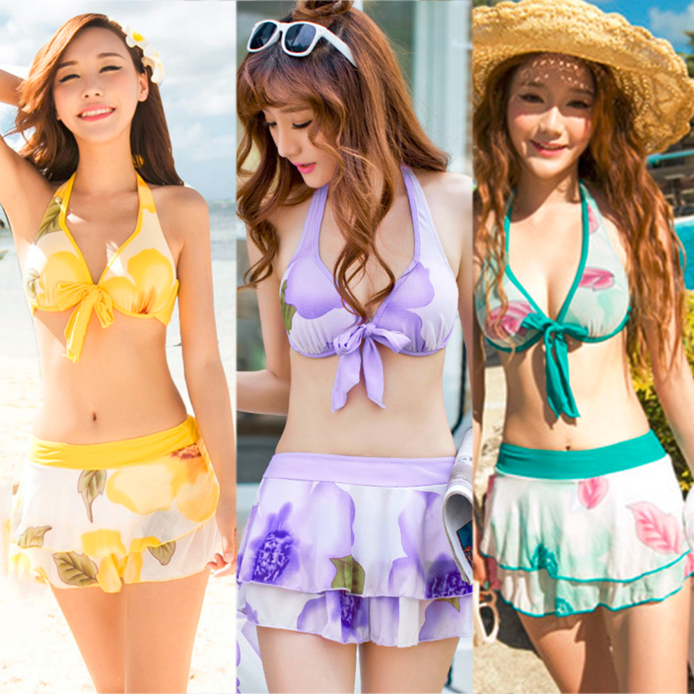 Promotion TOP Quality Women Bloem Halter Bikini Top Swim Bodem Strand Korte Rok Cover Blouse Jurk Set Badpak Free Shipping<br><br>Aliexpress
