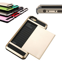 "Hot ! Luxury Slim Hybrid Credit Card Pocket Wallet Pouch Phone Case PC Back Cover For iPhone 5 5s 6 6s 4.7'' 6Plus 5.5"" Cases(China)"