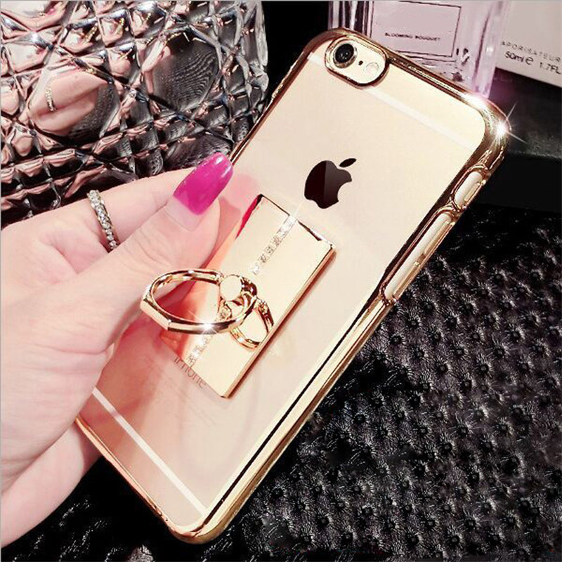 Luxury bling diamond decoration Soft TPU Silicone Gel Metal Ring iphone 5 5s 5se 6s 6p 7 7 Plus Phone case