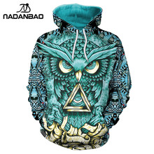 NADANBAO New Design Hiphop Hoodies Owl 3D Printing Gold Metal Cool Fashion Autumn Sweatshirt Thin Hooded Women Hoodie Bts(China)