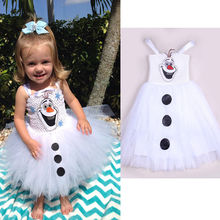 2017 Cartoon Snowman Olaf Costume Girls Baby Tulle Fancy Gown Tutu Dresses 2-7Y