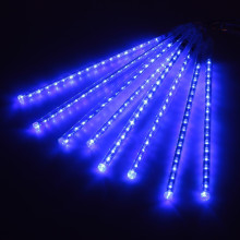 Blue Meteor Shower Rain LED Light String 8 Tubes 30cm Falling Snow Strip Fairy Romantic New Year Festival Garde Tree Decorations