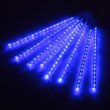 Blue Meteor Shower Rain LED Light String 8 Tubes 30cm Falling Snow Strip Fairy Romantic New Year Festival Garde Tree Decorations(China)