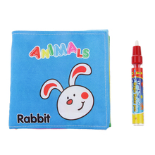 Colorful Animal Cloth Book with Water Drawing Writing Mat Kid Baby Toys Children Learning Educational Crative Gift + Magic Pen