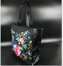 Embroidery bags China national style Peony shoulder bag big size PU and cotton tote pack for fashion women