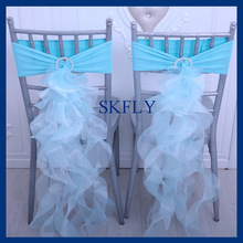 CH098V SKFLY popular amazing nice color tiffany blue spandex band and curly willow organza chair sashes