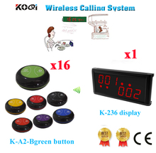 Wireless Table Service Calling System Best Price Electronic Bell Digit Number 433.92MHZ Equipment(1 display+16 call button)(China)