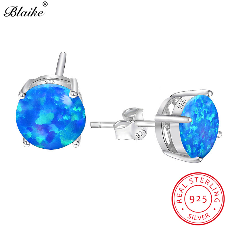 Blaike Blue Fire Opal 8MM Round Stone Stud Earrings For Women 925 Sterling  Silver Birthstone Engagement 28d7008137a5