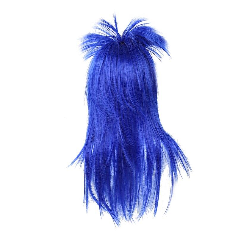 1980s 80/'s Punk Rock Chick Multi Colour Mullet Wig Womens Fancy Dress Costume