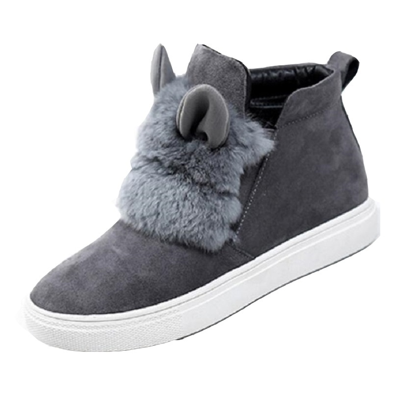 Fashion Women Winter Shoes Rabbit Fur Ankle Boots Height Increasing Boots For Women Warm Black Gray Shoes Size 34-40 <br>