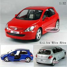 Candice guo alloy car model 1:32 mini Peugeot 307 hatchback collection toy birthday gift christmas pull back vehicle motor 1pc(China)
