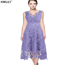 KIMILILY 2017 Elegant Lace Dress Womens Summer Sexy V Neck Hollow Out Floral Swing Midi Office Party Dresses Female High Quality