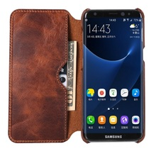 Real Genuine Leather Flip Case For Samsung Galaxy S8 Plus S 8 Cell Phone Retro Vintage Leather Wallet Cases Luxury S8Plus Cover