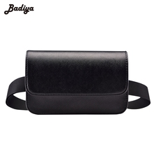 Fashion Solid Casual Women Waist Bag PU Leather Black Fanny Pack For Women Brief Design Ladies Small Bags