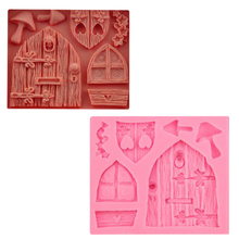 3d Cartoon Art Fairy Wood Door And Window Shape Silicone Candy Mold Mushroom Cake Decoration Tool Chocolate Mold Kitchen Baking