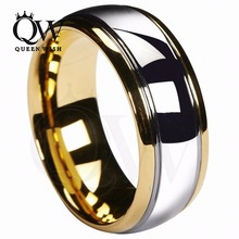 Queenwish 8mm Tungsten Carbide Wedding Band Gold Silver Dome Gunmetal Bridal Ring Men Jewelry Size 6-13