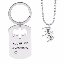 Hollow Bat Heart Pendant Neckalce Keyring Letter You are My Superhero Dad Sidekick Beads Chain Necklaces Keychain Sets(China)