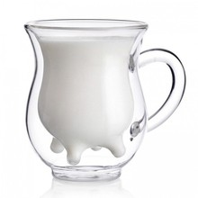80pcs/lot Vintage Double Layer Cow Milk Glass Cup Clear Juice Tea Morning Cup Mug 250ml Funny Kitchen Drinkware