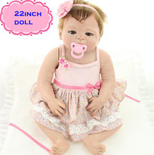 22inch Full Soft Silicone Reborn Baby Dolls Handmade Hard Silicone Lifelike Dolls Classic Baby Toys For Kids Gift Brinquedos