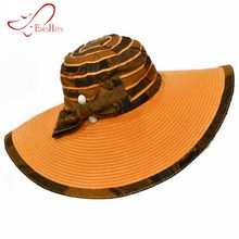 Ladies Straw Braid   Fabric Sun Hat   Matching Bow Beach Hat Summer Hat S10- 2770 7cd4fcd75873