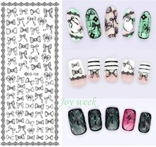 Water sticker for nail art all decorations sliders bow knot adhesive nails design decals manicure accessoires foil stickers