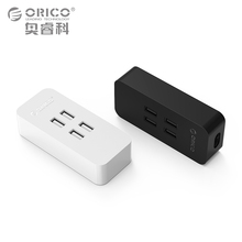 Travel USB Charger, ORICO DCV-4U 4 Ports Mini Smart charger 5V2.4A *4 Max Output 20W for Cellphones, Tablets and More(DCV-4U)