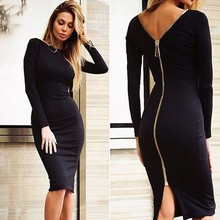 Black Dress Long Sleeve Evening Party Dresses Women Full Zipper Robe Sexy Pencil Tight(China)