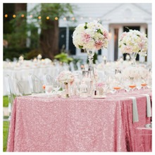 ShinyBeauty Pink Gold-3.3m Square Sequin Tablecloth-132-Inch Square Glitter Table Linen For Wedding Decoration