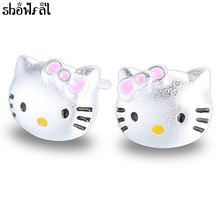 Cute Hello Kitty Earrings Jewelry Pink Cute Kt Cat Brincos Silver Plated Bijoux Statement Cat Stud Earring Girls Christmas Gift(China)