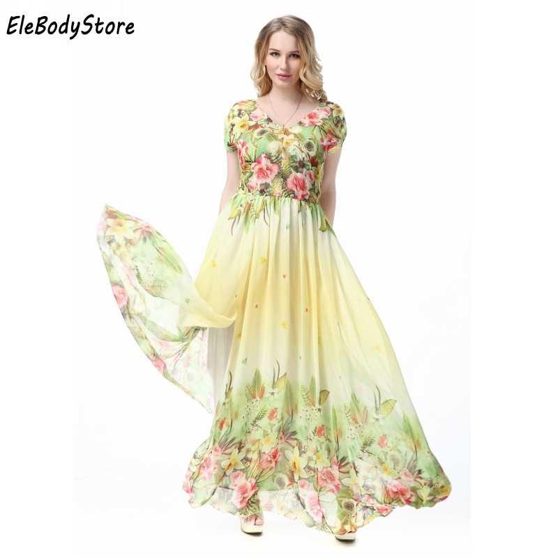 Maxi Dress 2018 5XL 6XL 7XL Vestidos Women Casual V Neck Floral Print  Holiday Summer Elegant cd5ce01c9799