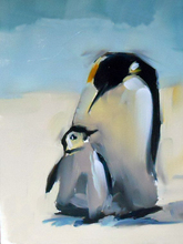 Artist Hand-painted South Pole Animal Abstract Penguin Mother And Penguin Baby Oil Painting On Canvas For Living Room Decoration
