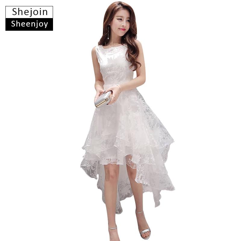 Shejoinsheenjoy лето maxi dress 2017 женщины о-образным вырезом без рукавов sweet бальное платье белый органзы высокая низкая вечер long dress(China)