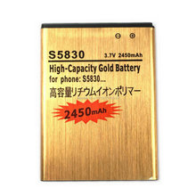 S5830 Gold Golden Battery Bateria For SAMSUNG Galaxy Ace Gio Pro S5660 S5670 i579 i619 i569 S5830i S5838 S7500 S7510 EB494358VU