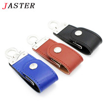 JASTER 2 colors Leather USB Flash Drive pendrive 4GB 8GB 16GB 32GB keychain Pen drive 32GB flash Memory stick usb creativo
