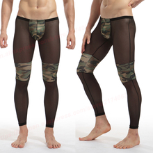 Mesh Pants Men Camouflage Fitness Pouch Sexy Tight Comfortable See Underwear Sheer Transparent  Low Waist Men Fashion Long Johns
