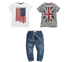 Free shipping! Boys summer suit with British and American flag 2 t-shirts and jeans 3 pcs. set children's clothing retail