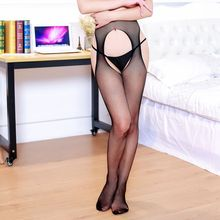 Buy Women Sexy Stockings Lingerie Open Crotch Fishing Net Lace Elastic Transparent Black Hollow Tights Thigh Sheer Pantyhose
