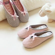 Lovely Bowtie Winter Women Home Slippers For Indoor Bedroom House Soft Bottom Cotton Warm Shoes Adult Guests Flats(China)