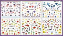 6 PACK/ LOT WATER DECAL NAIL ART NAIL TRANSFER STICKER MARINE SEA TURTLE MERMAID ANCHOR BEACH FRUIT YU417-422(China)