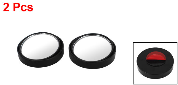 UXCELL 2 Pcs Black Round Wide Angle Convex Blind Spot Mirror Rear View Messaging Car Vehicle