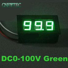 3 Wire Green LED digital display Voltage Panel Meter Voltmeter With Reverse Polarity Protection range DC0-100V 00029995(China)