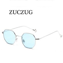 ZUCZUG Arrival Polygon Clear Square Sunglasses Women Fashion Brand Design Lady Vintage Metal Small Frame Plain Sun Glasses UV400