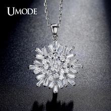 UMODE Brand New White Gold Color Rare Trapezoidal Cut Top CZ Pendant Necklaces Fashion Necklaces For Women Jewelry Gift AUN0225