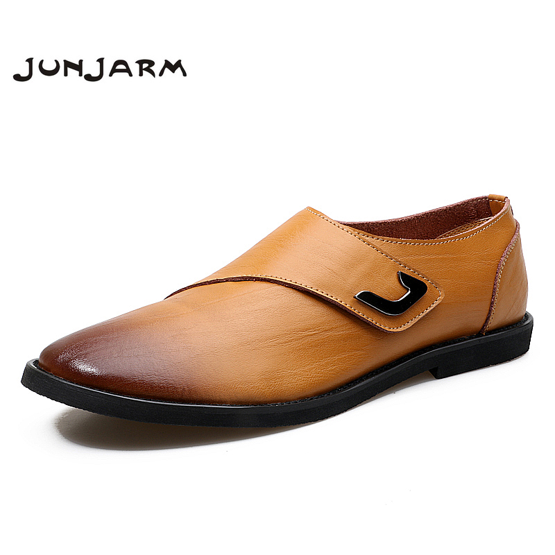 JUNJARM 2017 New Arrival Men Flats Driving Shoes Fashion Handmade Genuine Leather Men Casual Shoes Men Loafers Breathable Flats <br>