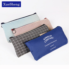 2PCS Brief Style Grid Stripes Canvas Pencil Bag Stationery Storage Pencil Case School Gift Stationery Supply(China)