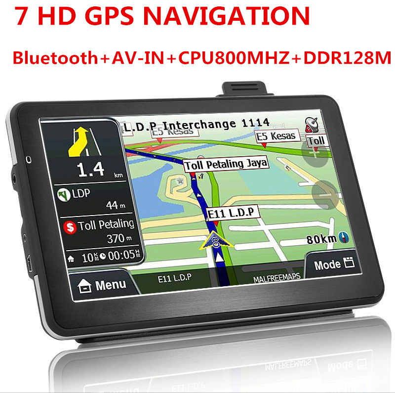 Oriana 7 inch wince6.0 GPS Navigation 128MB 4G. CPU 800MHZ bluetooth AV-in FMT Russia Europe USA world maps free shipping(China (Mainland))