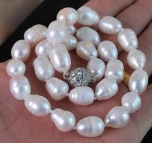 "Jewelry Big 9-11MM Natural white akoya cultured pearl necklace Magnet Clasp 17""(China)"
