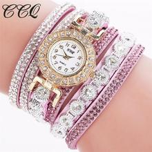 CCQ 2016 famous brand watch Bracelet Women Fashion Casual Quartz Women Rhinestone Watch Bracelet Watch Gift montre femme Hot